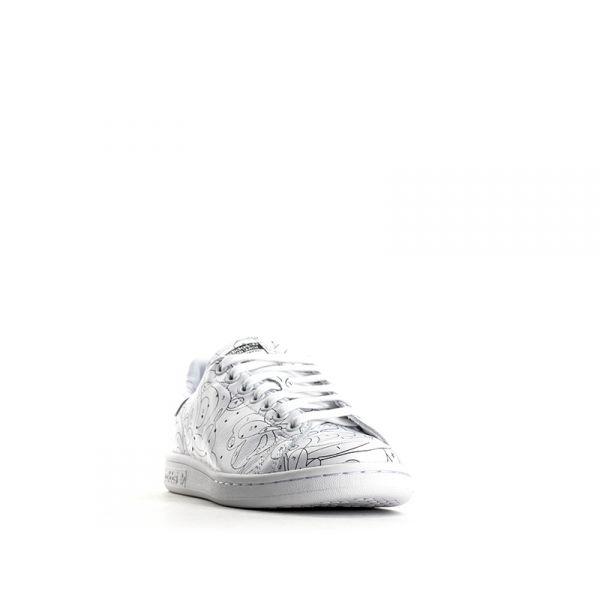 ADIDAS STAN SMITH Sneaker donna bianca pelle disegni