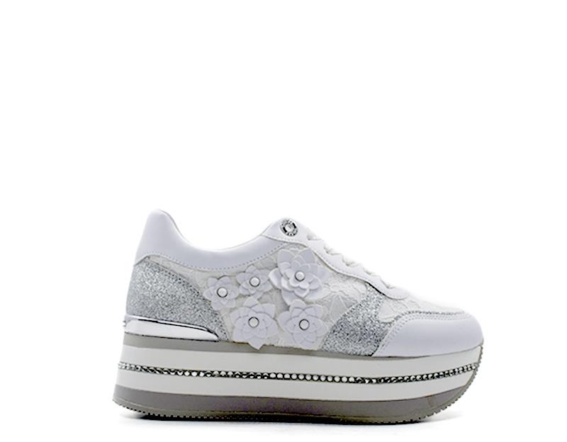 Dettagli su Scarpe GUESS Sneakers Trendy PU,Tessuto FL5HINLAC12 WHI