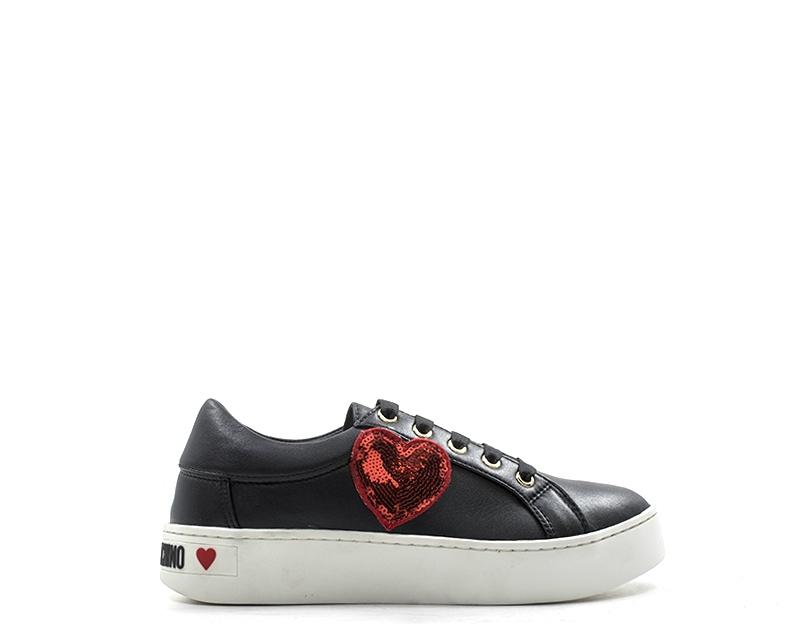 best sneakers 77f83 8e6aa Dettagli su Scarpe MOSCHINO Donna Sneakers Trendy NERO PU JA15303G06-000