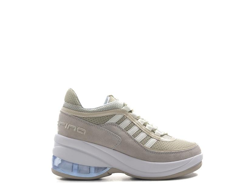 sports shoes 6b905 c6c4c Dettagli su Scarpe FORNARINA Donna Sneakers Trendy BEIGE  PU,Scamosciato,Tessuto UP-BE