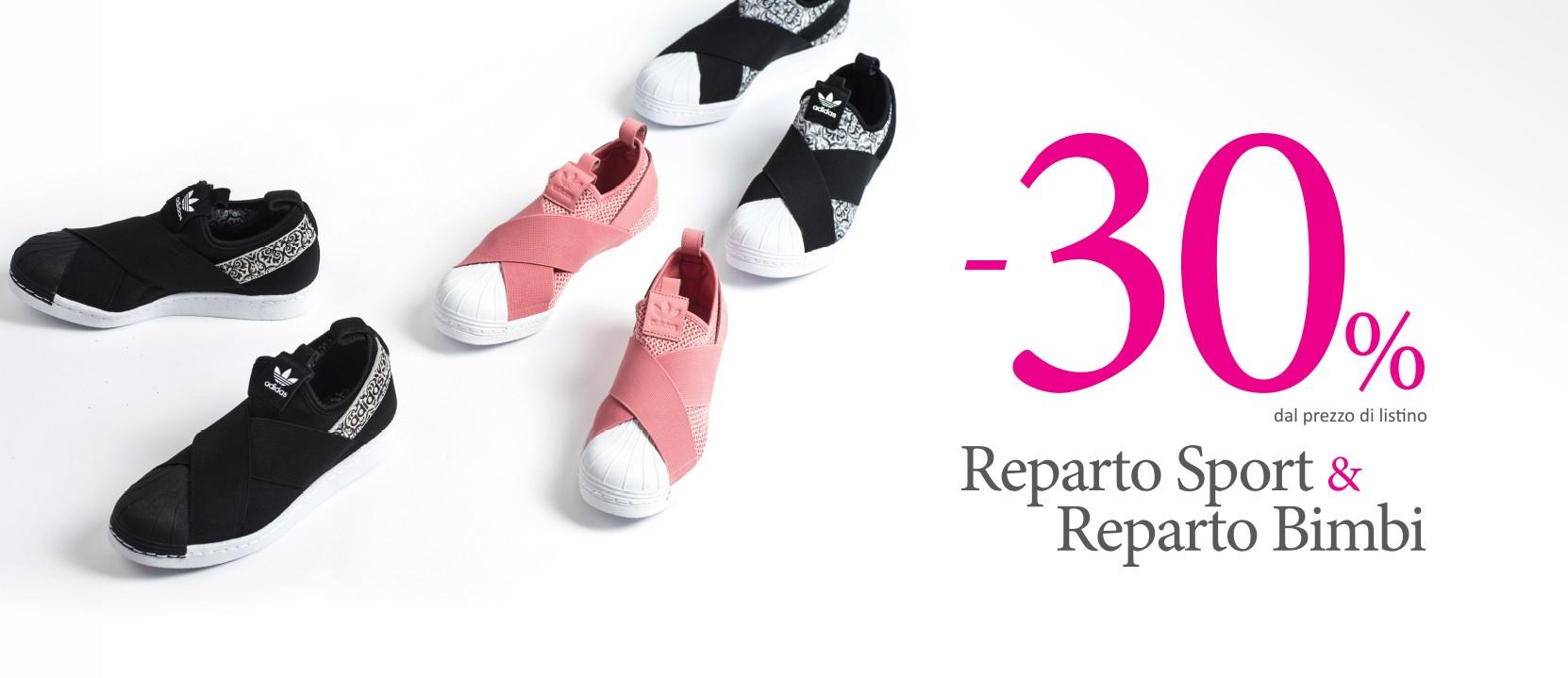 Sconto del -30% sulle calzature sport e bimbo
